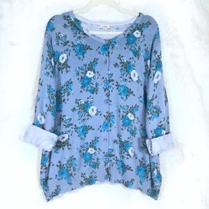 LL Bean Blue Floral Button-up Cardigan size 2x